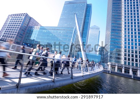 London office buinesss building movement in rush hour - stock photo