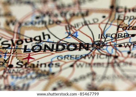 London on the map. - stock photo