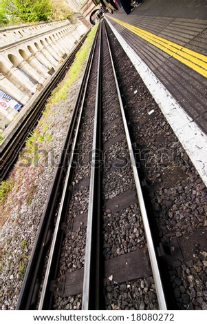 London outdoors subway station, angled perspective - stock photo