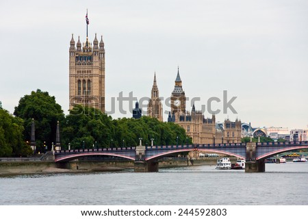 London parliament and Big Ben - stock photo