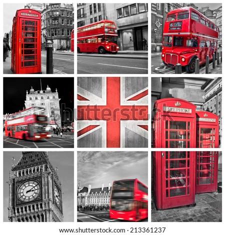 London photos collage, selective color - stock photo