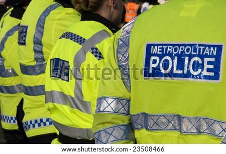 London police officers on patrol duty in  London. - stock photo