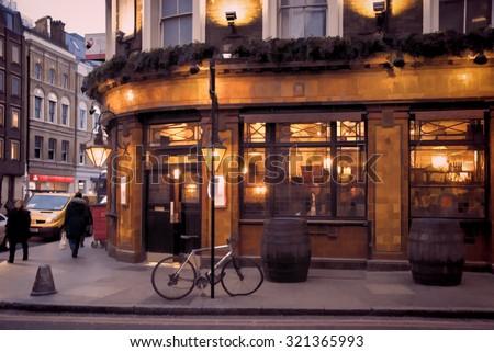 London Pub illustration - stock photo