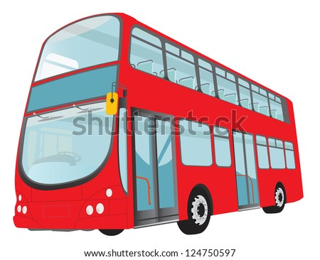 London red bus on white background. Raster version. Vector in my portfolio - stock photo