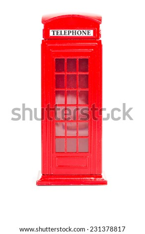 London red telephone box (souvenir) on white background  - stock photo