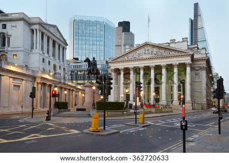 London Royal Exchange, luxury shopping centre and Bank of England in the evening - stock photo
