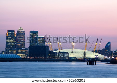 London's City Financial District - Canary Wharf - stock photo