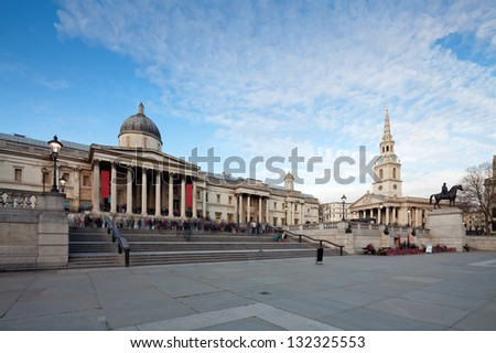 London's National Gallery and St Martin-in-the-Fields, Anglican church. Cityscape shot with tilt-shift lens maintaining verticals - stock photo