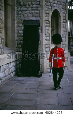 LONDON - SEP, 1990 - Guard, Tower of London,London, ,United Kingdom - stock photo