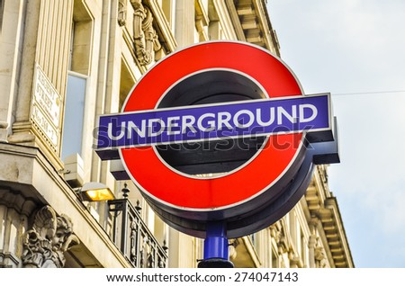 LONDON - SEP 19: Transport for London announced that the 'Underground' logo will also be used for other transportation systems in London on September 19, 2014. - stock photo