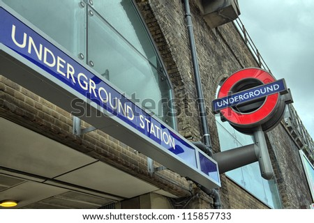 LONDON - SEP 27: Underground  tube station in London on September 27, 2012. The London Underground is the oldest underground railway in the world covering 402 km of tracks - stock photo