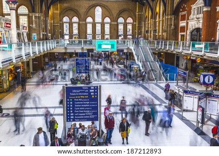 LONDON - SEPT 28 : Inside view of Liverpool Street, September 28, 2013 in London.  Since 1874, third busiest railway terminus after Waterloo, Victoria, served 53 million passenger between 2010 - 2011. - stock photo