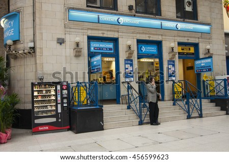 LONDON - September 1, 2015: currency exchange at Victoria rail station in London, UK. - stock photo