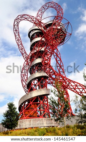 LONDON - SEPTEMBER 4. The ArcelorMittal Orbit is a symbolic structure of the Olympic Games, designed by Anish Kapoor and Cecil Balmond. September 4, 2012, in the Olympic Park, Stratford, London, UK - stock photo