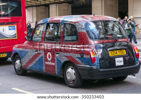 LONDON - September 1, 2015: Traditional London Taxi Cab, TX1 Hackney Carriage - stock photo
