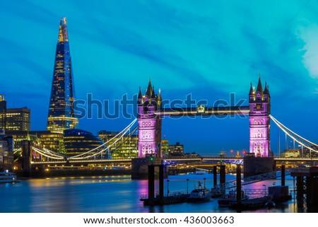 London skyline at night with Tower Bridge - stock photo
