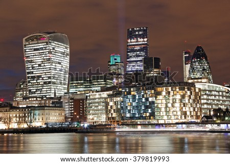 London skyline by night - stock photo
