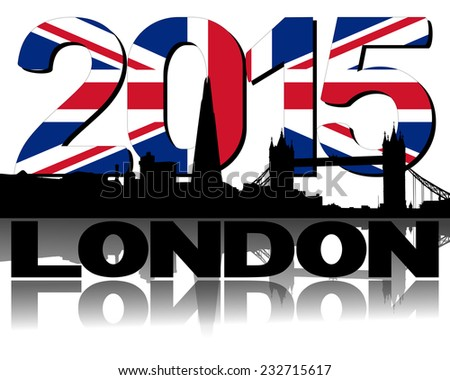 London skyline 2015 flag text illustration - stock photo