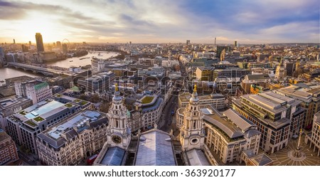 London Skyline from the top of St.Paul's Cathedral at sunset - London, UK - stock photo