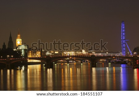 London skyline, include London Eye, Big Ben and Victoria Tower, seen from South Bank   - stock photo