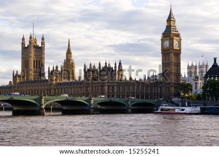 London Skyline  showing Big Ben and Westminster - stock photo