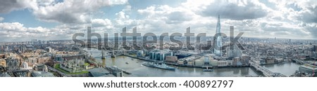 London Skyline Wide View Panorama. East & South, Tower of London, River Thames Canary Wharf, The Shard, London Bridge. Famous Landmarks - stock photo