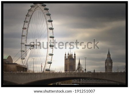 London Skyline with a dark stormy sky with a canvas effect added - stock photo