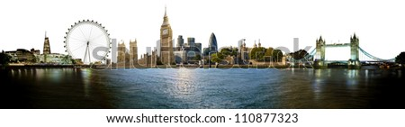 London skyline, with all important buildings and attractions of the city - stock photo
