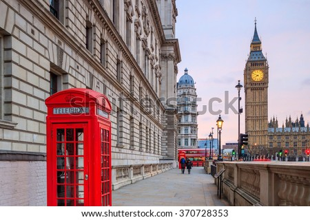 London skyline with Big Ben and Houses of parliament at twilight in UK. - stock photo