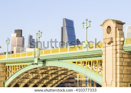 London skyline with Blackfriars bridge and Leadenhall Building, informally known as the Cheese Grater, and the Stock Exchange tower on the background in London, Uk - stock photo