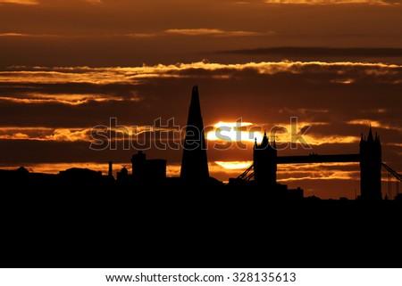 London skyline with Tower Bridge and Shard at sunset illustration - stock photo