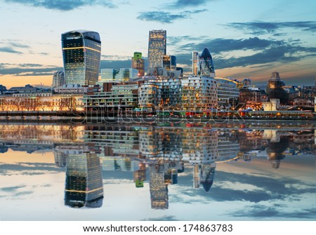 London Skylines at dusk England, UK - stock photo