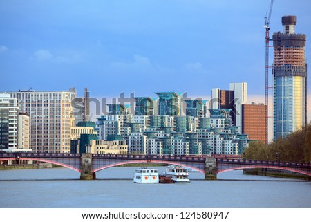 London Skylines Skyscrapers along River thames England UK - stock photo