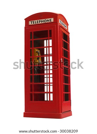 London style red public telephone booth isolated on white - stock photo