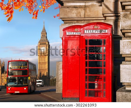 London symbols with BIG BEN, DOUBLE DECKER BUS and red PHONE BOOTHS in England, UK - stock photo