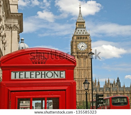 London Telephone Booth, Big Ben, and double decker bus - stock photo