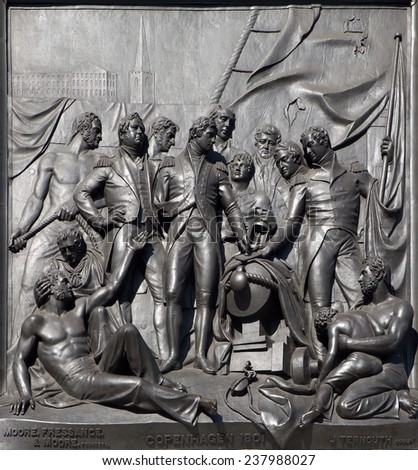 London - The Battle of Copenhagen relief from Nelson memorial by sculptor J. Ternout - Trafalgar square.  - stock photo