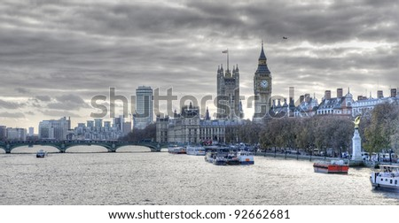 London, the Thames, and the Houses of Parliament. High dynamic range image. - stock photo