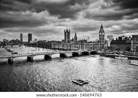 London, the UK. Big Ben, the Palace of Westminster in black and white. The icon of England - stock photo