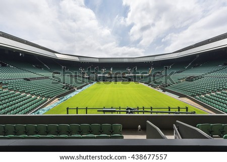 LONDON,THE UK-CIRCA MAY 2016: at the central court of Wimbledon - stock photo