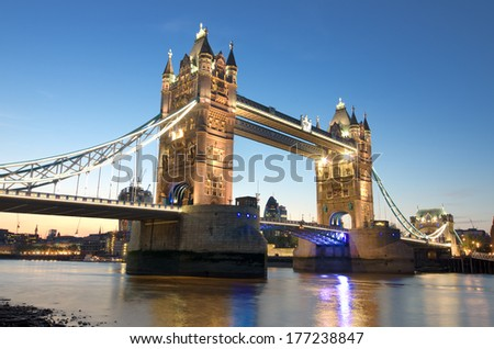 London Tower Bridge at twilight  - stock photo