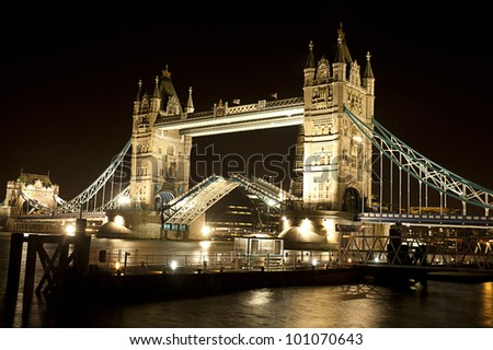 London Tower Bridge Open Night - stock photo