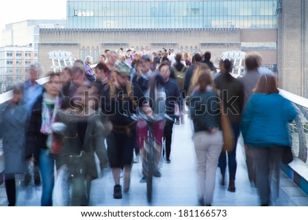 London traveller Blur people movement in rush hour, England, UK  - stock photo
