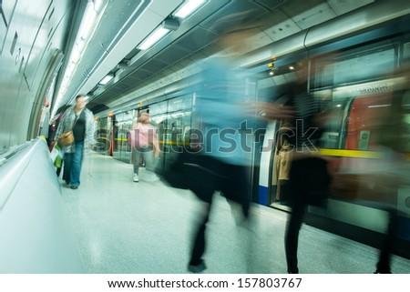 London tube station movement - stock photo