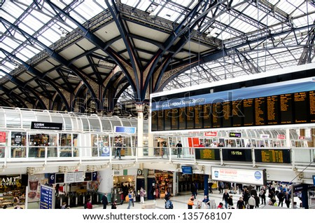 LONDON, UK - APR 17: London Liverpool Street station on April 17, 2013 in London, UK. Opened in 1874, it now a major transport hub serving over 55 million passengers a year. - stock photo