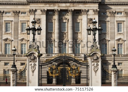 LONDON, UK - APRIL 7: Buckingham Palace which will be the starting point of the royal wedding procession to be held on Friday 29th April, April 7, 2011 in London, United Kingdom - stock photo