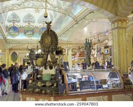 LONDON, UK - APRIL 17, 2014: Caviar counter in the famous Harrods department store. - stock photo