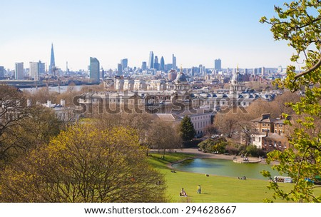 LONDON, UK - APRIL 14, 2015: City of London view from the Greenwich hills - stock photo
