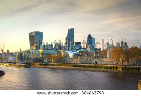LONDON, UK - APRIL 30, 2015: City of London  view from the Tower Bridge. - stock photo