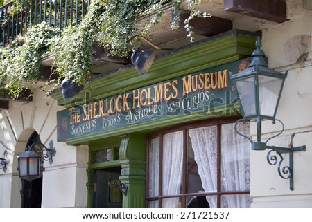 LONDON, UK - APRIL 22: Detail of banner in the entrance to the Sherlock Holmes museum. April 22, 2015 in London. - stock photo